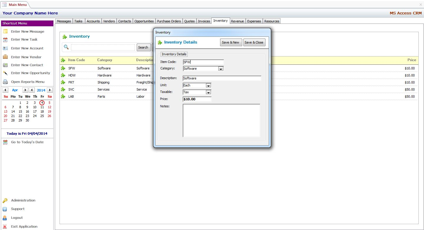 MS Access Inventory Management