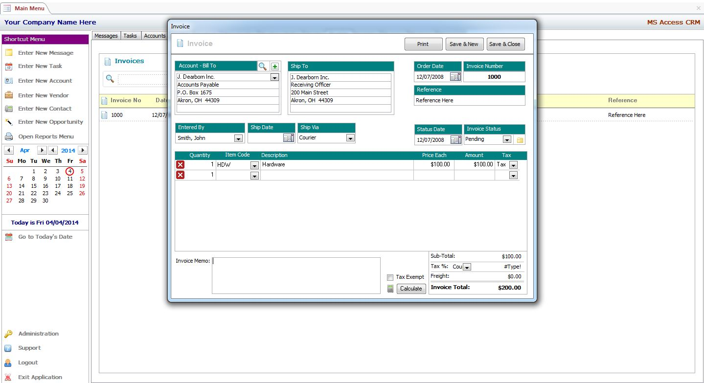 MS Access Invoice Management